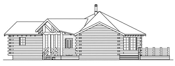 Log, One-Story House Plan 69205 with 2 Beds, 2 Baths Picture 2