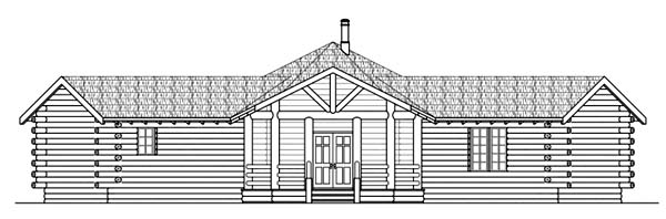 Log, One-Story House Plan 69205 with 2 Beds, 2 Baths Rear Elevation