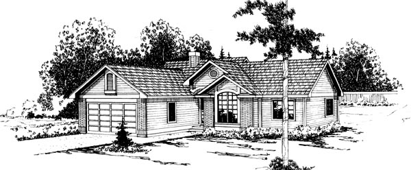 One-Story, Ranch House Plan 69206 with 3 Beds , 2 Baths , 2 Car Garage Elevation