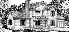 House Plan 69212 | Country Farmhouse Style Plan with 1646 Sq Ft, 4 Bedrooms, 2.5 Bathrooms, 2 Car Garage Elevation