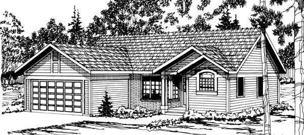 One-Story, Ranch House Plan 69221 with 3 Beds, 2 Baths, 2 Car Garage Elevation