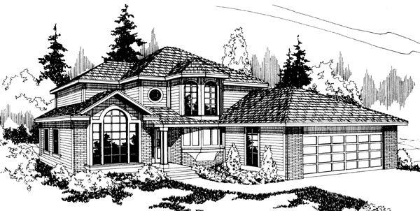 Traditional House Plan 69222 with 3 Beds, 2.5 Baths, 2 Car Garage Elevation