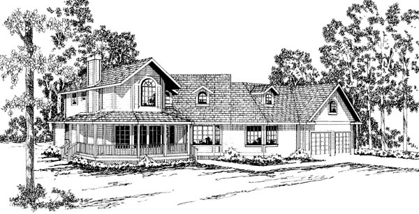 Country Farmhouse Elevation of Plan 69225