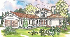 House Plan 69226 | Mediterranean Style Plan with 2979 Sq Ft, 3 Bedrooms, 3 Bathrooms, 2 Car Garage Elevation