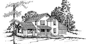 Country , Farmhouse House Plan 69227 with 3 Beds, 2.5 Baths, 2 Car Garage Elevation