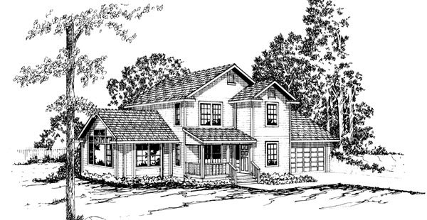 House Plan 69227 | Country Farmhouse Style Plan with 1807 Sq Ft, 3 Bedrooms, 2.5 Bathrooms, 2 Car Garage Elevation