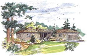 Contemporary Craftsman Ranch House Plan 69230 Elevation