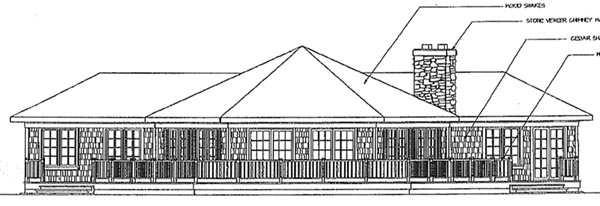 Contemporary Craftsman Ranch House Plan 69230 Rear Elevation