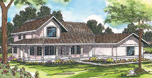 Country, Farmhouse House Plan 69234 with 3 Beds, 2.5 Baths, 3 Car Garage Front Elevation
