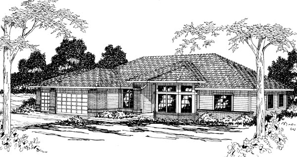 Contemporary, Traditional House Plan 69236 with 4 Beds, 2.5 Baths, 3 Car Garage Elevation