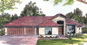 Mediterranean House Plan 69241 with 3 Beds, 2.5 Baths, 3 Car Garage Elevation