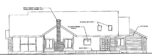 Country Rear Elevation of Plan 69245