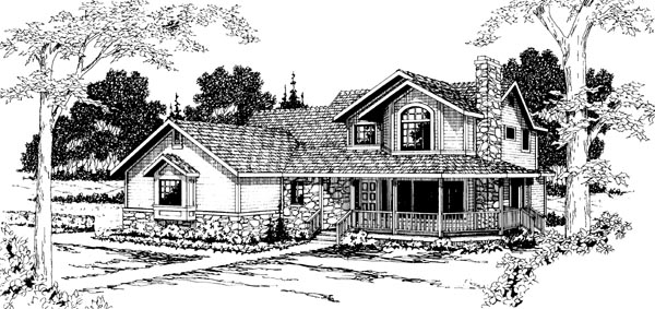 Country , Farmhouse House Plan 69246 with 4 Beds, 3.5 Baths, 2 Car Garage Elevation