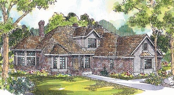 European Traditional House Plan 69247 Elevation