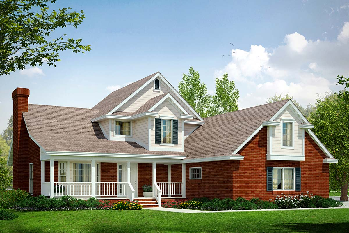 House Plan 69248 | Country Style Plan with 1792 Sq Ft, 3 Bedrooms, 2.5 Bathrooms, 2 Car Garage Elevation