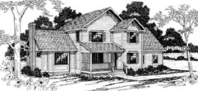 House Plan 69252 | Country Style Plan with 2210 Sq Ft, 3 Bedrooms, 2.5 Bathrooms, 2 Car Garage Elevation