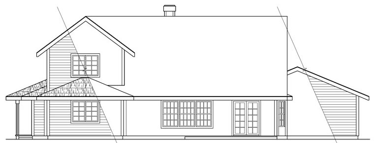 Victorian , Traditional , Country , Cottage House Plan 69253 with 4 Beds, 2.5 Baths, 2 Car Garage Rear Elevation