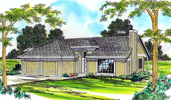 One-Story, Ranch, Traditional House Plan 69255 with 3 Beds, 2 Baths, 2 Car Garage Front Elevation