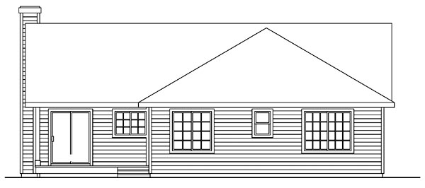 One-Story, Ranch, Traditional House Plan 69255 with 3 Beds, 2 Baths, 2 Car Garage Rear Elevation