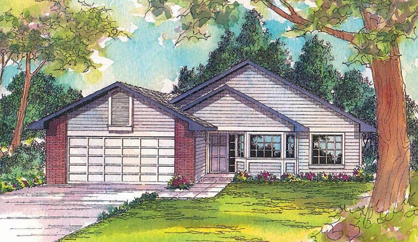 House Plan 69256 | Ranch Style Plan with 1415 Sq Ft, 3 Bedrooms, 2 Bathrooms, 2 Car Garage Elevation