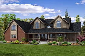 Country , Farmhouse House Plan 69259 with 4 Beds, 3 Baths, 2 Car Garage Elevation