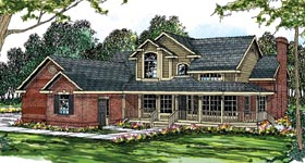 Country European Farmhouse Traditional House Plan 69261 Elevation