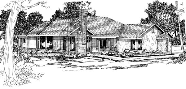 Contemporary, Traditional House Plan 69262 with 3 Beds, 3 Baths, 2 Car Garage Front Elevation