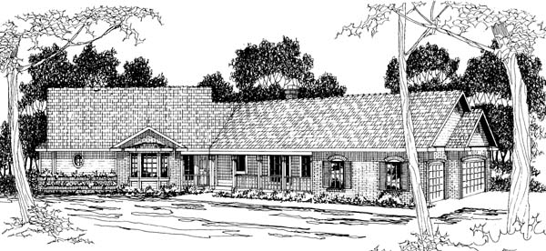 Ranch House Plan 69266 with 4 Beds, 3 Baths, 3 Car Garage Elevation