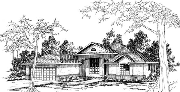 Traditional House Plan 69273 with 4 Beds, 3 Baths, 2 Car Garage Elevation