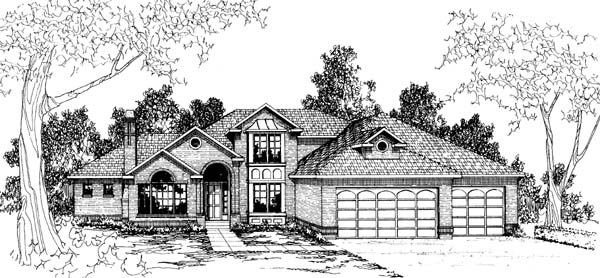 House Plan 69276 | Traditional Style House Plan with 2753 Sq Ft, 3 Bed, 2.5 Bath, 3 Car Garage Elevation