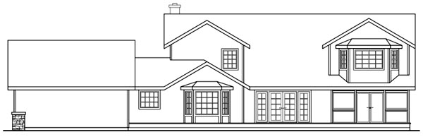 Country , Rear Elevation of Plan 69292