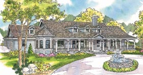 Country , Florida , Ranch House Plan 69296 with 4 Beds, 6 Baths, 3 Car Garage Elevation