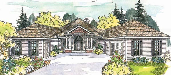 Traditional House Plan 69298 with 3 Beds, 2.5 Baths, 3 Car Garage Elevation