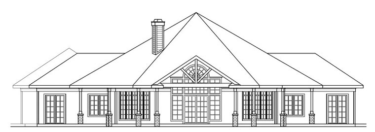 Traditional House Plan 69298 Rear Elevation
