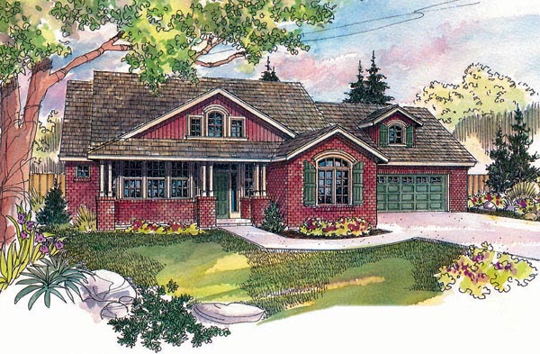 Country House Plan 69299 with 3 Beds, 2.5 Baths, 2 Car Garage Elevation