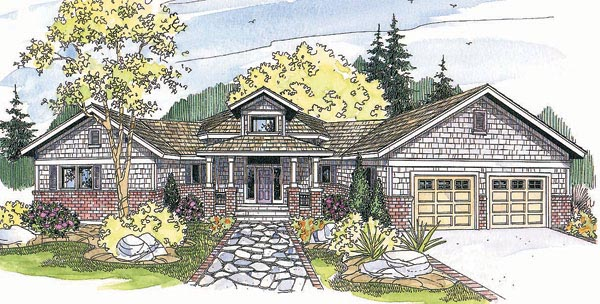 Craftsman House Plan 69301 with 3 Beds, 2 Baths, 2 Car Garage Elevation