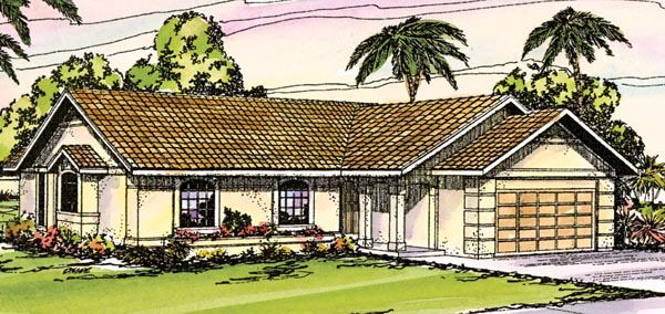 Florida Mediterranean Ranch Southwest House Plan 69304 Elevation