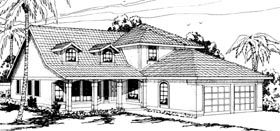 Country , Mediterranean House Plan 69308 with 3 Beds, 2.5 Baths, 2 Car Garage Elevation