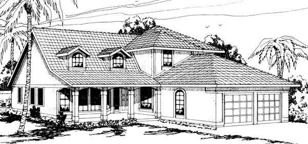Country Mediterranean Elevation of Plan 69308