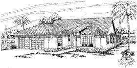 Mediterranean House Plan 69312 with 3 Beds, 2 Baths, 2 Car Garage Elevation