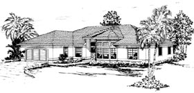 House Plan 69314 | Mediterranean Style Plan with 2349 Sq Ft, 4 Bedrooms, 2.5 Bathrooms, 2 Car Garage Elevation