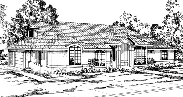 Traditional House Plan 69318 with 3 Beds, 3 Baths, 3 Car Garage Elevation