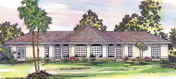 House Plan 69326 | Mediterranean Ranch Style Plan with 1778 Sq Ft, 2 Bedrooms, 2.5 Bathrooms Elevation