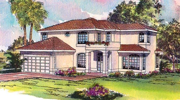 Florida , Mediterranean , Southwest House Plan 69327 with 4 Beds, 3 Baths, 2 Car Garage Elevation