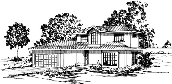 Florida House Plan 69330 with 3 Beds, 2.5 Baths, 2 Car Garage Elevation