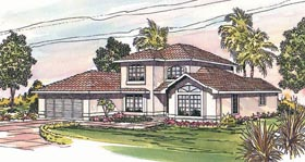 House Plan 69331 | Mediterranean Southwest Style Plan with 2051 Sq Ft, 3 Bedrooms, 2.5 Bathrooms, 2 Car Garage Elevation