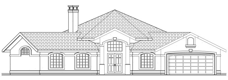 Mediterranean , One-Story , Ranch , Southwest , Rear Elevation of Plan 69339