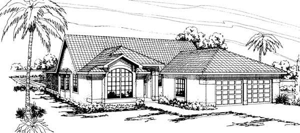 Florida , Ranch House Plan 69340 with 4 Beds, 2 Baths, 2 Car Garage Elevation