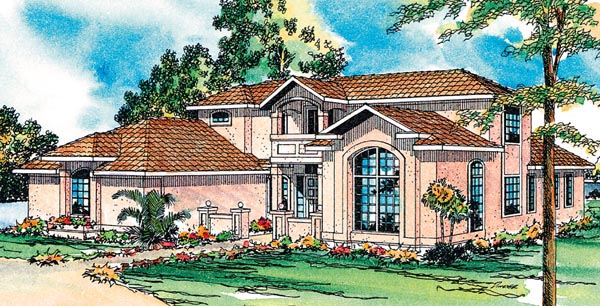 House Plan 69345 | Contemporary Florida Mediterranean Southwest Style Plan with 2607 Sq Ft, 3 Bedrooms, 3.5 Bathrooms, 2 Car Garage Elevation
