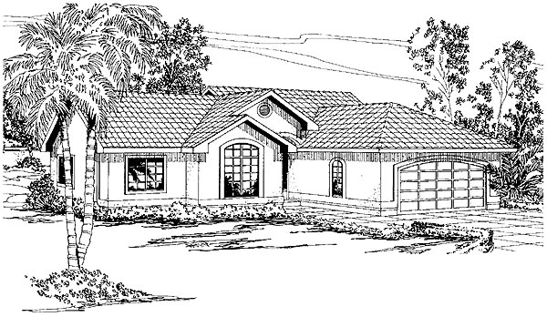 One-Story, Ranch, Southwest House Plan 69347 with 3 Beds, 2 Baths, 2 Car Garage Elevation